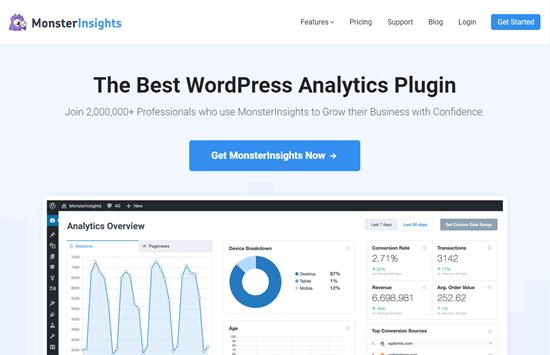 monsterinsights en iyi analitik wordpress eklentisi