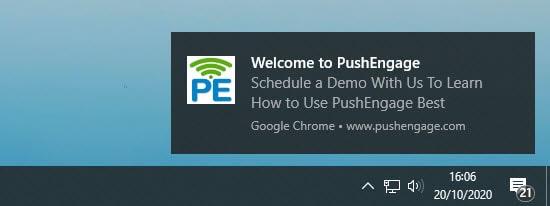 PushEngage'den örnek bir push bildirimi
