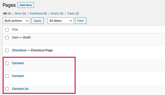 Yanlışlıkla WordPress'te benzer adlandırılmış sayfaları silme