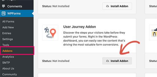 WordPress'e kullanıcı yolculuğu eklentisini yükleyin