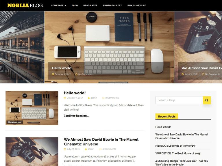 noblia ücretsiz wordpress blog teması