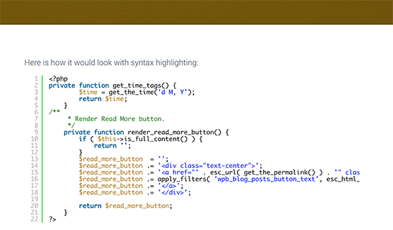 Syntax highlighter enabled in post
