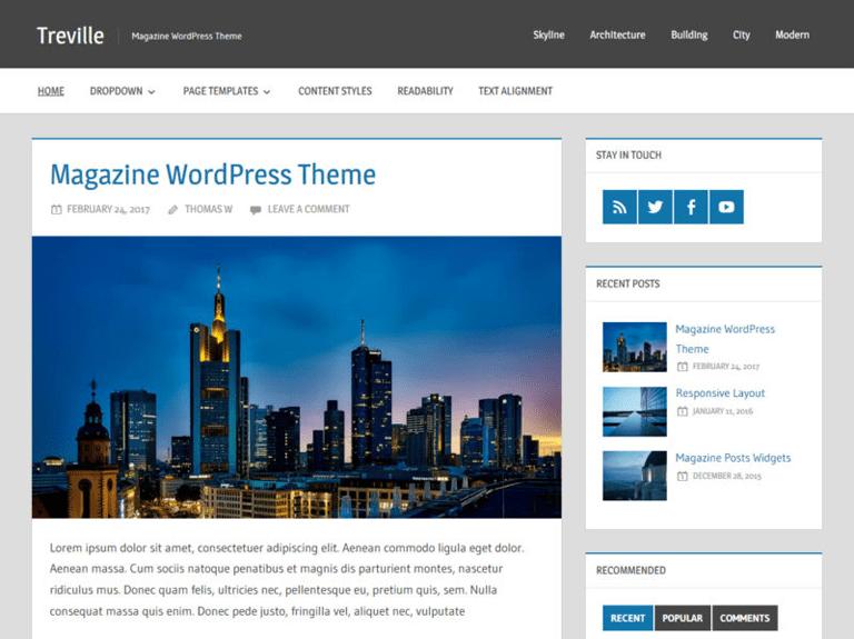 treville ücretsiz wordpress blog teması
