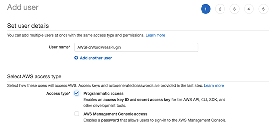 User name and access type