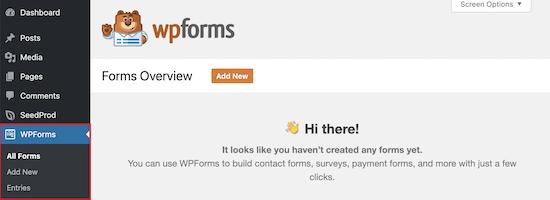 WPForms eklenti yükleme menüsü