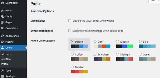 WordPress'te yönetici renk düzeni paletleri