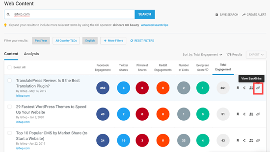 Checking the details of backlinks in Buzzsumo
