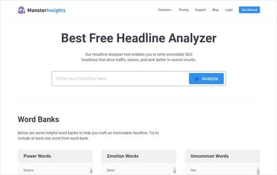 MonsterInsights Headline Analyzer