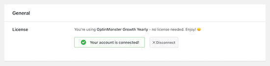 OptinMonster account connected
