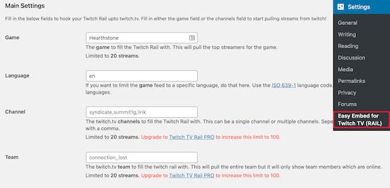 Twitch WordPress yerleştirme ayarları