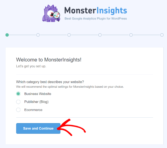MonsterInsights'ta Web Sitesi Kategorisini Seçin