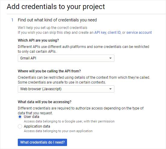 Projenize kimlik bilgileri ekleme sürecini başlatma