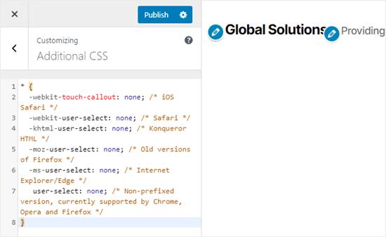 Metin seçimini ve kopyalayıp / yapıştırmayı önlemek için CSS kodunu ekleme