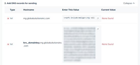 Mailgun'dan alt alan adınıza eklemeniz gereken DNS kayıtlarını almak