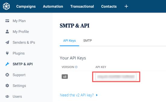 API anahtarınızı Sendinblue'dan alma