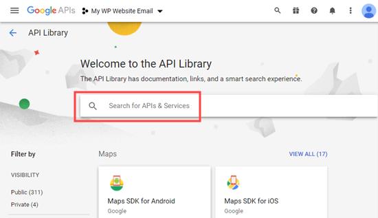 API kitaplığı arama çubuğu