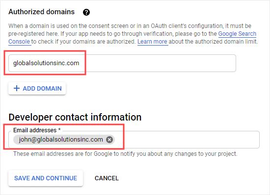 Etki alanınızı ve iletişim e-posta adresinizi girme