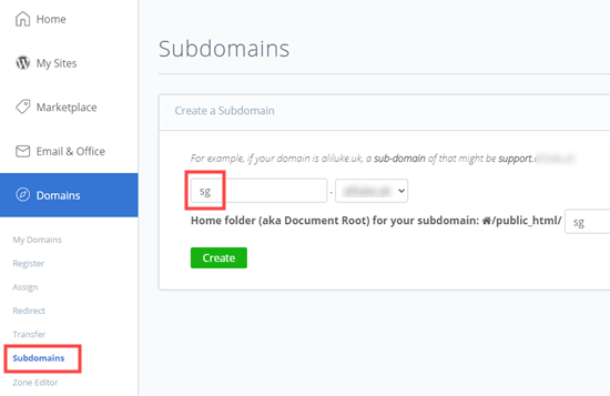 Bluehost'ta bir alt alan adı ekleme