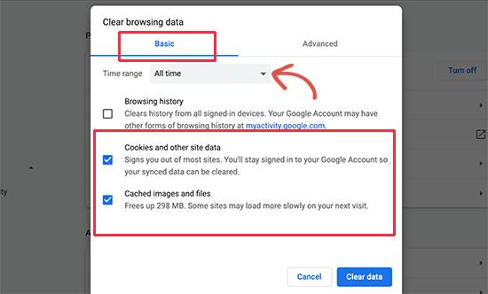 Google Chrome'da çerezleri ve önbelleği temizleyin