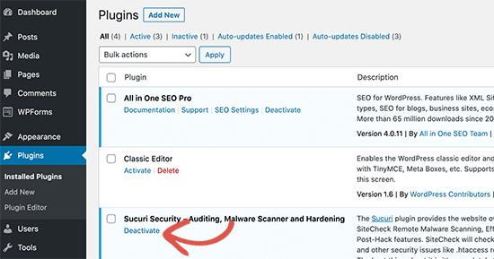 WordPress güvenlik duvarı eklentisini devre dışı bırakın