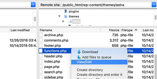 Functions.php dosyasını düzenleyin