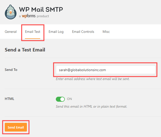 WP Mail SMTP'den bir test e-postası gönderin
