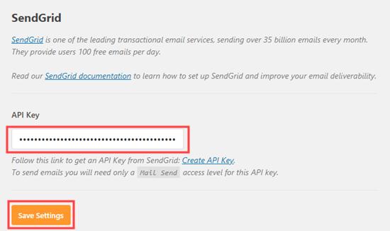 API'nizi SendGrid'den WP Mail SMTP ayarlarınıza girme