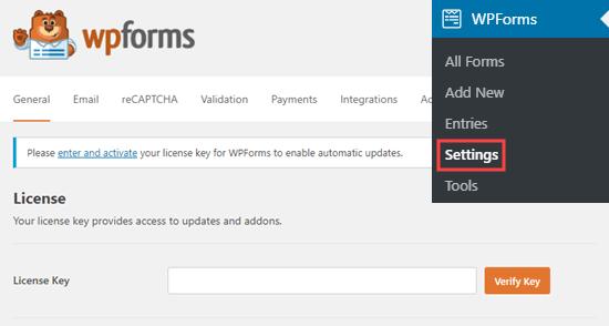 WPForms lisans anahtarınızı sitenize girme