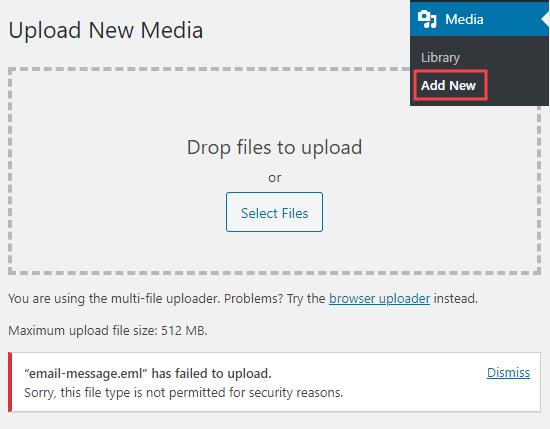 Dosyayı izin verilmeyen güvenlik mesajını gösteren Medya Kitaplığına bir dosya yükleme