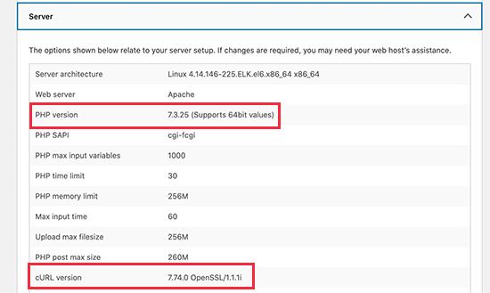 PHP, cURL ve OpenSSL sürümlerini kontrol edin