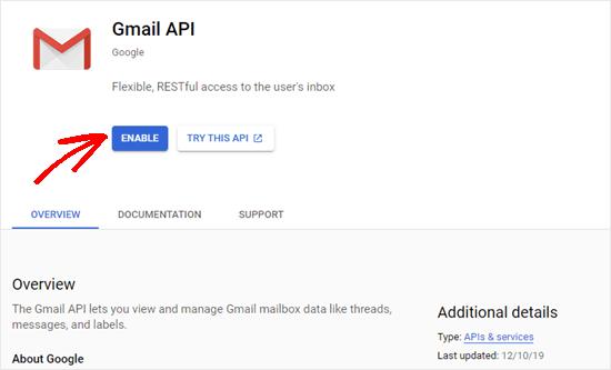 Gmail API için Etkinleştir düğmesini tıklamak
