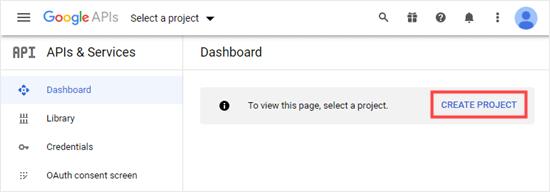 Google Developers Console kontrol panelinde bir proje oluşturma