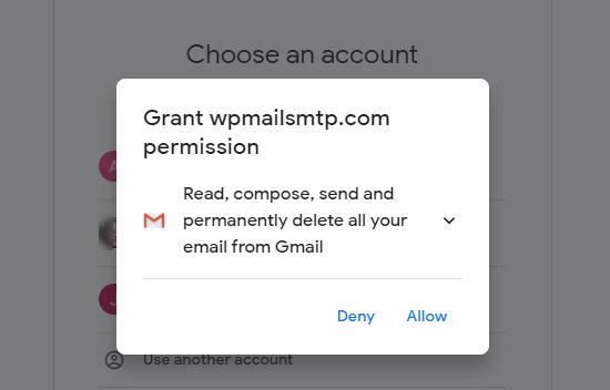WP Mail SMTP'nin Gmail hesabınıza erişmesine ve onu kullanmasına izin verin