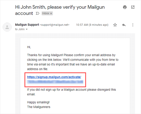 Mailgun ile e-posta adresinizi doğrulamak için bağlantıya tıklayın