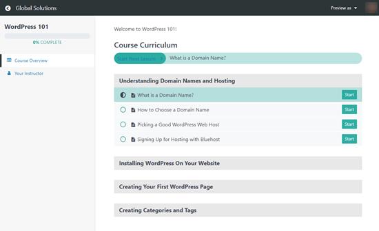 Kullanıcıların gördüğü ve kurs boyunca ilerlemelerini gösteren MemberPress kurs müfredatı