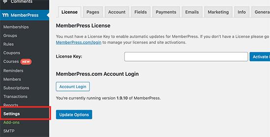 MemberPress lisans anahtarı