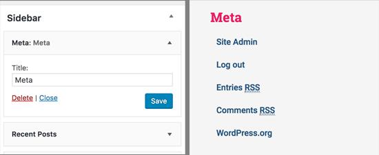 WordPress'te meta widget'ı