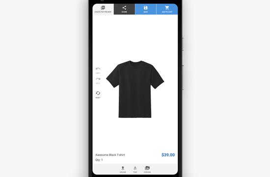 WooCommerce için özel ürün oluşturucunun mobil önizlemesi
