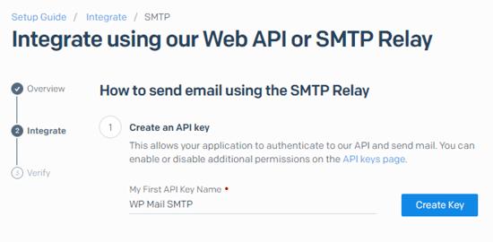 API anahtarınızı SendGrid'de adlandırın ve Anahtar Oluştur düğmesini tıklayın