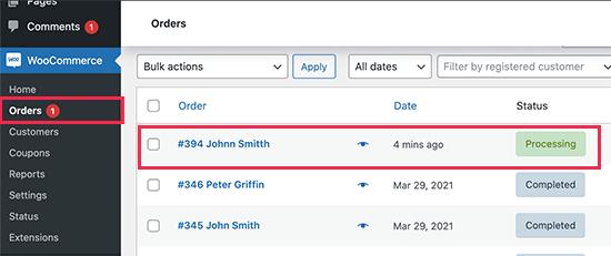 Siparişleri WooCommerce'da görüntüleme