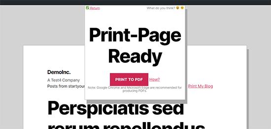 PDF dosyası kaydetmeye hazır