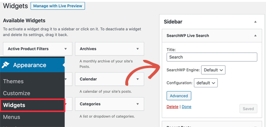 SearchWP canlı arama widget'ı