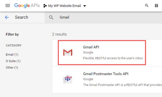 Gmail API'sini seçme