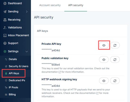Mailgun'dan özel API anahtarınızı kopyalama