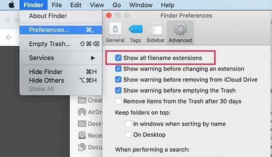 Mac'te dosya uzantısını göster