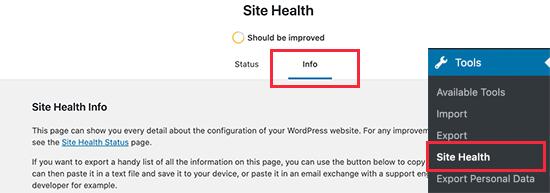 Site sağlığı altında sistem bilgileri raporu