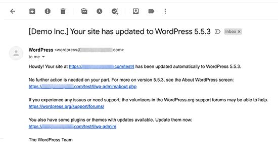 Otomatik güncellemeden sonra e-posta bildirim önizlemesi