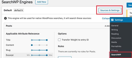SearchWP kaynaklarını seçin