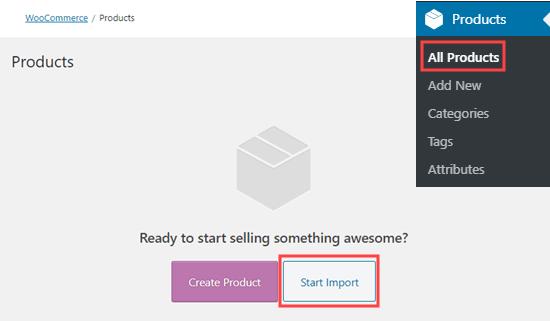 Örnek verileri WooCommerce'e aktarmak için 'İçe Aktarmayı Başlat' düğmesini tıklayın