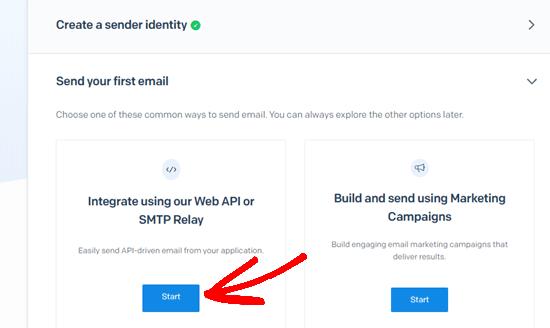 Web API ve SMTP Geçiş seçeneğinin altındaki Başlat düğmesine tıklayın